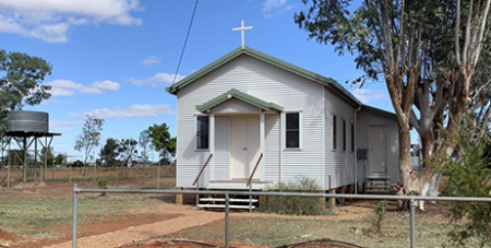 The renovated  Our Lady of Lourdes Church in Windorah, Queensland (ABC News/Facebook/Windorah Community Events)