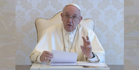 Pope Francis delivers a video message to participants of the online forum (CNS/Vatican Media)