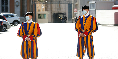 Swiss Guards at the Vatican lastr month (CNS/Remo Casilli, Reuters)