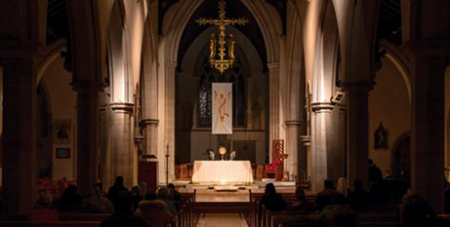 Eucharistic adoration at the Lighthouse event, St Mary's Cathedral, Hobart (Hobart Archdiocese/Ben Hine)