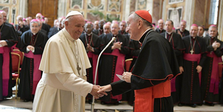 Pope Francis and Secretary of State Cardinal Pietro Parolin at the meeting with papal nuncios (Vatican Media)