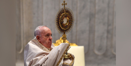Pope Francis leads Benediction at the conclusion of the Mass in St Peters Basilica yesterday (CNS/Tiziana Fabi, Reuters pool)