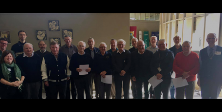 The musicians who recorded 'One Quiet Man' at Marcellin College in Melbourne (Supplied)