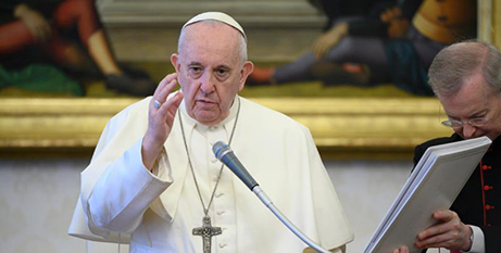 Pope Francis at his general audience in the library of the Apostolic Palace yesterday (CNS/Vatican Media)