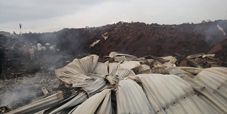 About 500 homes were flattened by the volcanic eruption in May (Salesian Missions Australia)