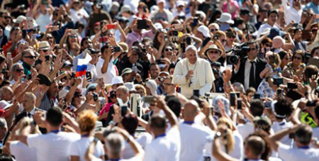Pope Francis at his weekly audience in St Peter's Square yesterday (CNA/Daniel Ibanez)