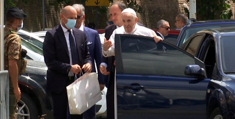 Pope Francis greets police officers after being discharged from hospital (CNS/Cristiano Corvino, Reuters TV screengrab)