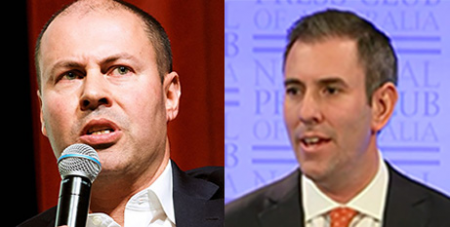 Josh Frydenberg (left) and Jim Chalmers (Wikimedia/Julian Meehan and ABC News)