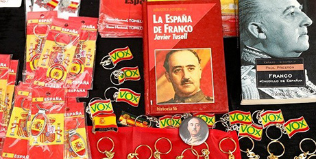 Souvenirs are displayed at a 2019 demonstration in Madrid against the exhumation General Francisco Franco (CNS/Javier Barbancho, Reuters)