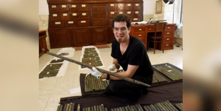 David Catalunya with the organ pipes in Jerusalem (CNS/Debbie Hill)