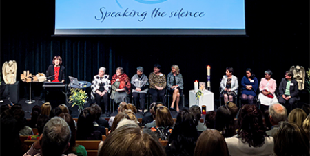 The speaking panel at the conference (Monte Sant' Angelo Mercy College)