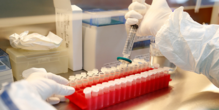 A scientist filters out samples during the research and development of a COVID-19 vaccine, June 2020 (CNS/Anton Vaganov, Reuters)