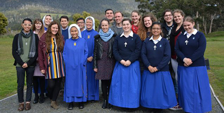 Members of the Immaculata community with participants at a mission school event in Tasmania (Hobart Archdiocese)
