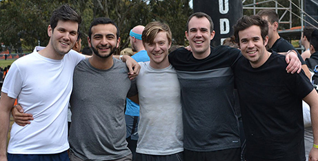 Members of Melbourne's Frassati Fraternity competing in the Tough Mudder endurance event in 2018 (Supplied)