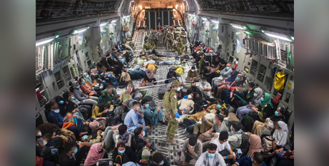 Some of the 4000 Afghan refugees  evacuted from Afghanistan by the Australian military (Facebook/ScottMorrisonMP)
