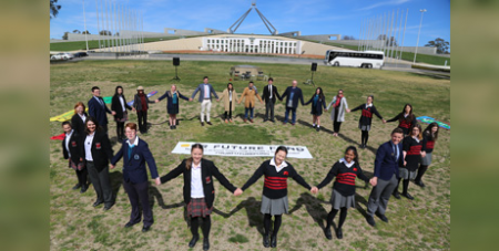 Our Future Fund alliance members launch the 10,000 signatures in 10 days campaign at Parliament House on Monday (Caritas Australia)