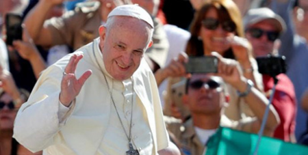 Pope Francis in St Peter's Square yesterday (CNS/Remo Casilli, Reuters)