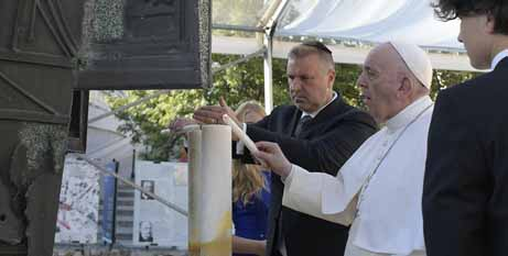 Pope Francis and Richard Duda, president of the Federation of Jewish Communities in Slovakia, light candles during a meeting with the Jewish community in Bratislava. (CNS photo/Vatican Media)