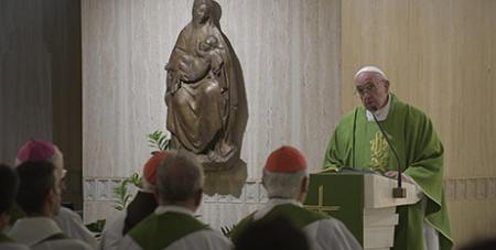 Pope Francis preaches at Mass yesterday (Vatican Media)