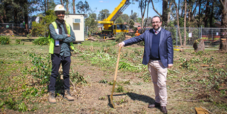 Project manager Shaun Naidu and Dr Paul Morrissey turn the first sod to mark the beginning of the building expansion at Campion College (Campion College)
