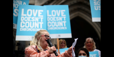 Heidi Crowter speaks outside the High Court in July (CNS/Hannah McKay, Reuters)