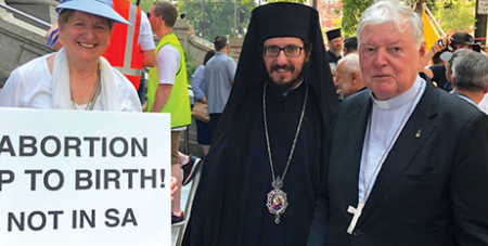 Greek Orthodox Bishop Silouan Fotineas and retired Port Pirie Bishop Greg O'Kelly at last year's Walk for Life rally in Adelaide (The Southern Cross)