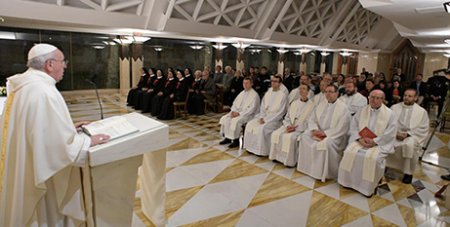 Pope Francis delivers the homily as he celebrates morning Mass in the Domus Sanctae Marthae chapel yesterday (CNS/Vatican Media)