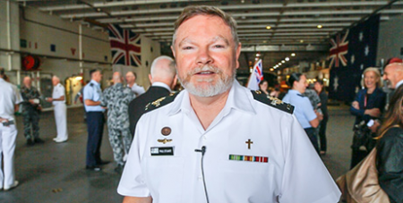 Fr Paul Stuart at the launch of the new Navy New Testament (Eternity News)