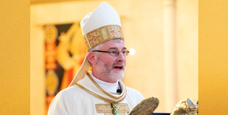 Bishop Shane Mackinlay speaks at his episcopal ordination Mass yesterday (Sandhurst Diocese)