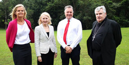 Catholic Education Services' Sally Towns, left, JCU's Sandra Harding, David Craig and Bishop James Foley at the school site at JCU (Supplied)