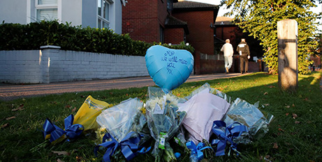 Flowers and a balloon outside the church where Sir David Amess was stabbed while meeting constituents on October 15 (CNS/Andrew Couldridge, Reuters)