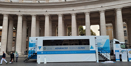 The mobile clinic in St Peter's Square yesterday (Vatican News)