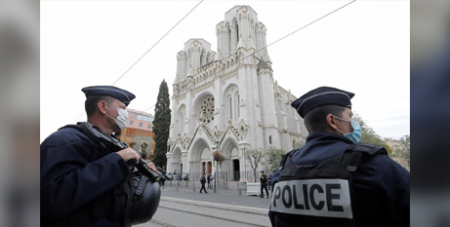 Police outside Notre Dame Basilica in Nice after three people were killed at the church before Mass yesterday (CNS/Eric Gaillard pool via Reuters)