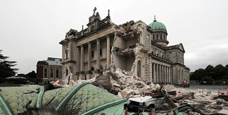 The former Cathedral of the Blessed Sacrament in Christchurch was severely damaged in a 2011 earthquake and has since been largely demolished (CNS/David Wethey, NZPA)