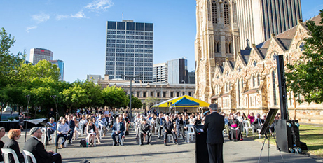 1130holo The opening of Adelaide's new Holocaust museum in Mary MacKillop Plaza (The Southern Cross/Peter Mundy)
