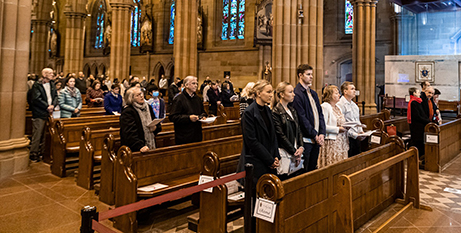 A socially-distanced Mass at St Mary's Cathedral in July (Sydney Archdiocese/Facebook-Archbishop Anthony Fisher OP)