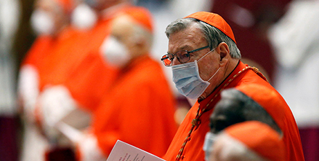 Cardinal George Pell attends the consistory at St Peter's Basilica at the Vatican on Saturday (CNS photo/Fabio Frustaci, Reuters pool)