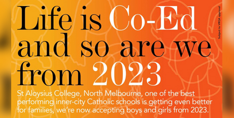 The annoucement on the St Aloysius College North Melbourne's Facebook page yesterday