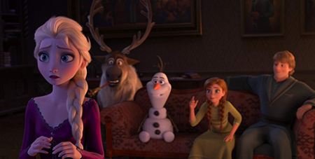 The cast of Frozen voiced by Idina Menzel, Kristen Bell, Josh Gad and Jonathan Groff (IMDB/Disney)