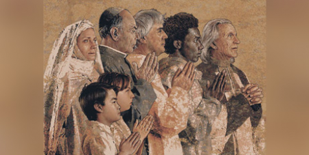 The Communion of Saints tapestry at Our Lady of the Angels Cathedral, Los Angeles, by John Nava (Supplied)