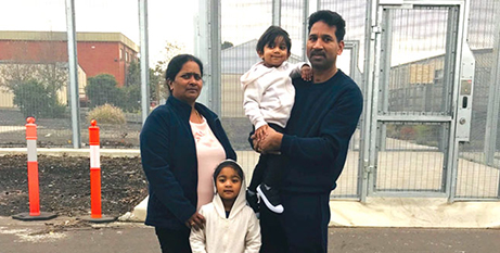 Priya (left) and Nades with their children Kopika and Tharnicaa face a third Christmas in detention (The Catholic Leader)
