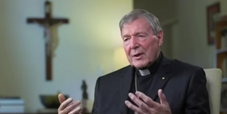 Cardinal George Pell on Sky News in April. (CNS screen grab)